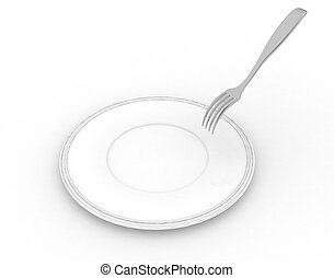 white dish with a pricking fork - empty white dish with a ...
