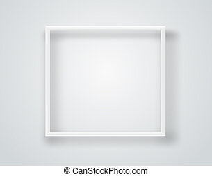 Empty white frame on a wall. Vector template