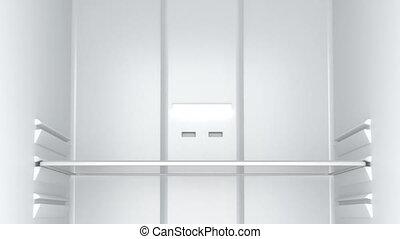 Empty white fridge