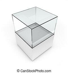 Empty white glass showcase for exhibit isolated