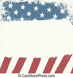 Empty white grunge canvas on american flag background. Patriotic design template.