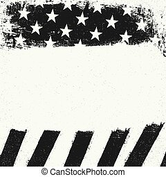 Empty white grunge copy space on black and white american flag background. Patriotic design template.