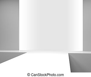 Empty white interior with a podium for fashion show