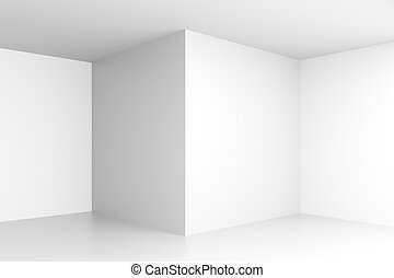 Empty white interior with corners and blank walls. Mock up,...