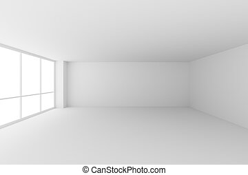 Empty white office room with large window. Business... stock ...