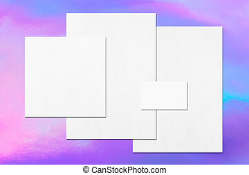Empty white office stationery mockups on holographic ...