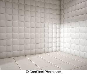 empty white padded room - white mental hospital padded room...