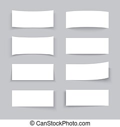 Empty white paper business banners with different shadow effects vector set