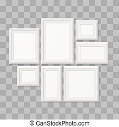 Empty white picture frames, 3d photo borders isolated on transparent background