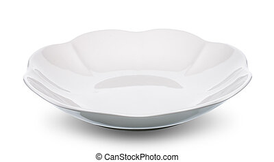 empty white plate isolated with clipping path