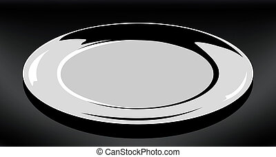 Empty white plate. Vector round plate Illustration on black background