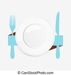 Empty white plate with a blue knife and fork