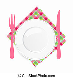 Empty white plate with a pink knife and fork on a checkered napkin