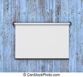 Empty white projector screen hanging from painting old wood wall