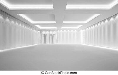 Empty White Room - 3d illustration