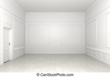 empty white room - 3d scene of an empty white classic room