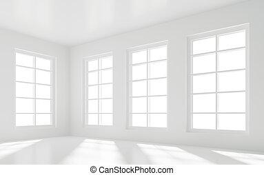 Empty White Room - 3d Illustration of Empty White Room