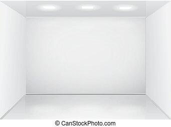 Empty white room interior.