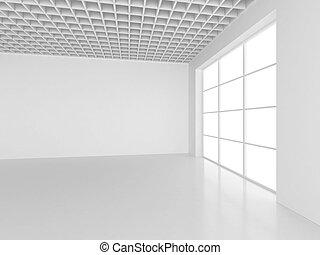 Empty white room interior office. 3d rendering