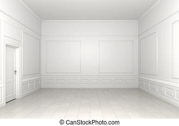 empty white room - 3d scene of an empty white classic room