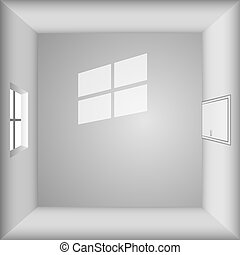 Empty room - top view. Empty room with window and door ...
