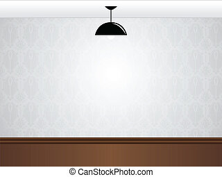 Empty white room wall with black lamp and wooden floor
