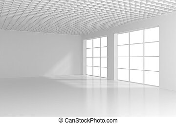 Empty white room with big windows. 3d rendering