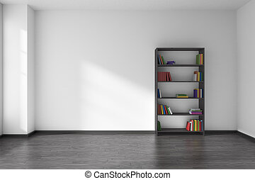 Empty white room with black bookshelf interior