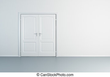empty white room with closed door