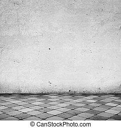Empty White Room with Copy Space and Tile Floor
