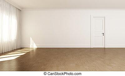 Empty white room with one door.