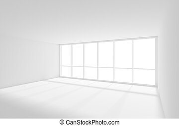 Empty white room with sun light from big window