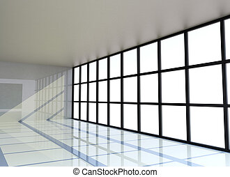 Empty white room with the window