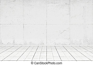Empty white room with tiled floor