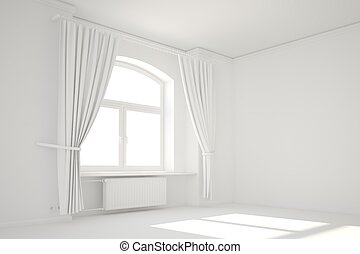 Empty white room with window and curtain