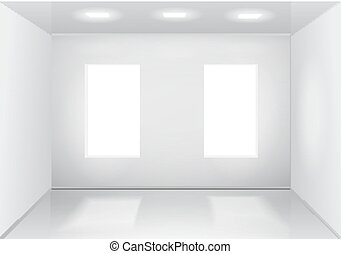 Empty white room with windows. Front veiw Vector illustration