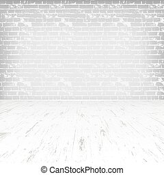 Empty white room with wooden floor and brick wall