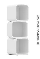 Empty white rounded showcase. Isolated on white. Mock-up....