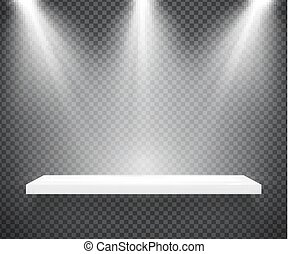 Empty white shelf illuminated by three spotlights on...