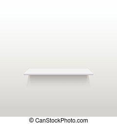 Empty white shelf on a gray wall