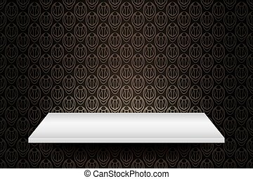 Empty white shelf on vintage wall vector