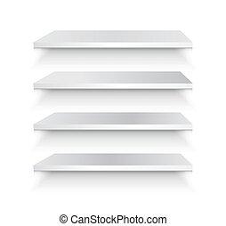 Empty white shelf vector illustration. Vector set.