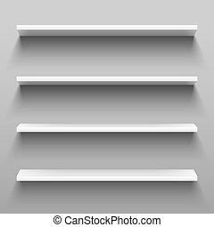 Empty white shelves for home shelving furniture. Realistic...