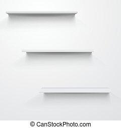 Empty white shelves on light grey background.
