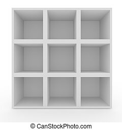 Empty white shelves with no lighting