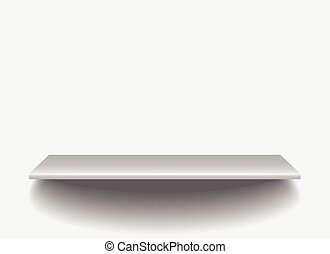 Empty White Shop Shelf 3d Store Wall Display Vector Illustration