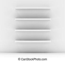 Empty white shop shelf, retail shelves
