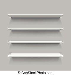 Empty white shop shelf, retail shelves, 3d store wall display vector illustration