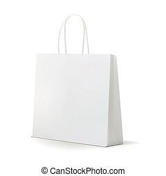 Empty White Shopping Bag  for advertising and branding. MockUp Package. Vector Illustration.