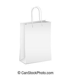 Empty white shopping paper bag